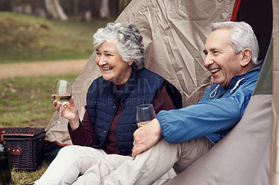 Buy stock photo Cropped shot of an affectionate senior couple enjoying wine while relaxing at their chosen camping spot