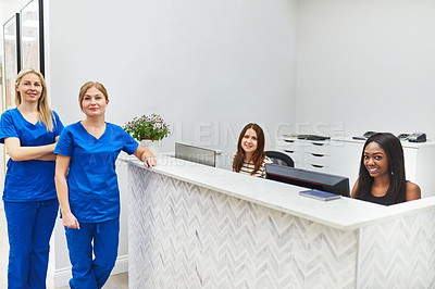 Buy stock photo Portrait of nurses and reception staff at a beauty clinic