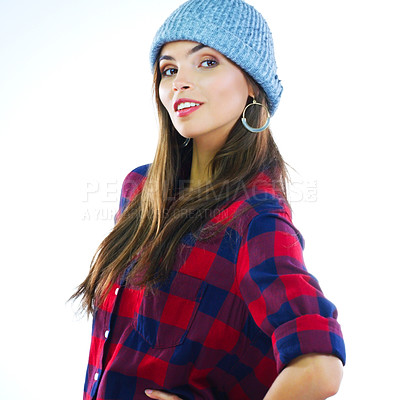 Buy stock photo Shot of a young woman posing against a white background