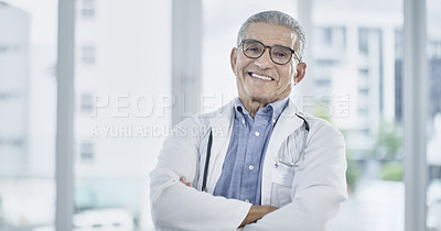 Buy stock photo Portrait of a male medical practitioner smiling at the camera