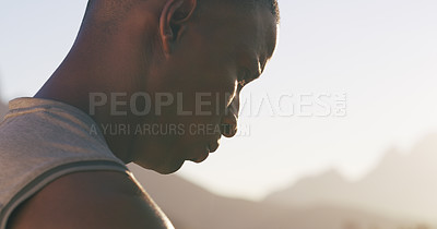 Buy stock photo Closeup shot of sporty young man out for a run