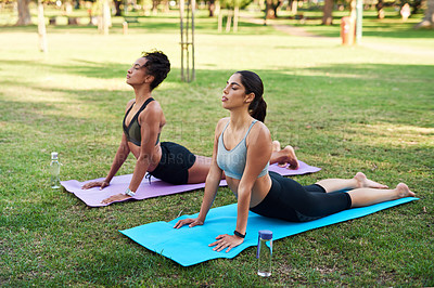 Buy stock photo Full length shot of two attractive young women holding a yoga pose in the park during the day