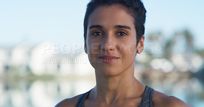 Buy stock photo Portrait of a beautiful young woman out for a run at the park