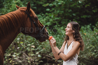 Buy stock photo Shot of a young woman feeding her horse in a forest