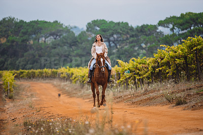 Buy stock photo Shot of a young woman riding a horse on a farm