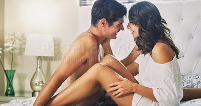 Buy stock photo Cropped shot of an affectionate couple spending quality time in the bedroom
