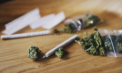 Buy stock photo Shot of dried marijuana and a rolled joint