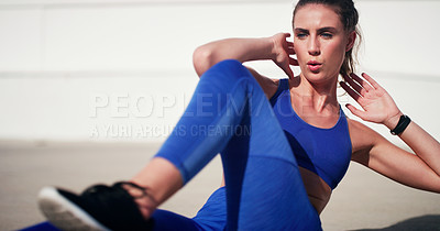 Buy stock photo Shot of young athletes exercising outdoors