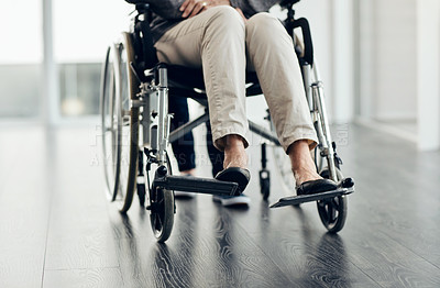 Buy stock photo Cropped shot of an unrecognizable senior woman sitting in a wheelchair
