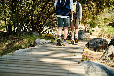 Buy stock photo Rearview shot of an unrecognizable couple hiking together outdoors