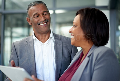 Buy stock photo Cropped shot of corporate businesspeople working in a modern office