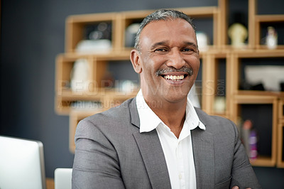 Buy stock photo Portrait of a handsome mature businessman in his office
