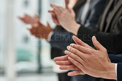Buy stock photo Cropped shot of a group of unrecognizable businesspeople clapping during a conference in a modern office