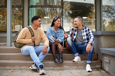 Buy stock photo Shot of a group of young students hanging out at university