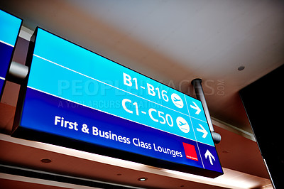 Buy stock photo Shot of a sign in an airport terminal