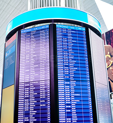 Buy stock photo Shot of a digital display in an airport
