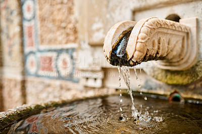 Buy stock photo Shot of an old-schooled water fountain flowing with water in Sintra, Portugal