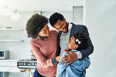 Buy stock photo Cropped shot of a family of three spending quality time at home
