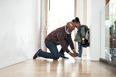 Buy stock photo Shot of a senior man leaving home to take his granddaughter to school