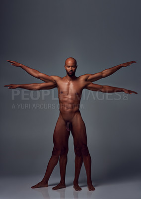 Buy stock photo Studio shot of a supernormal man with multiple limbs posing nude against a grey background