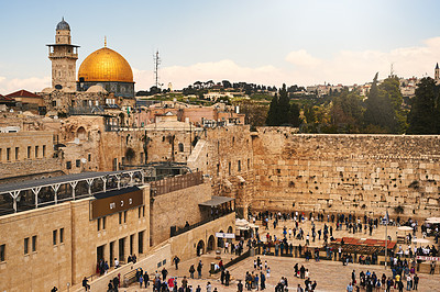 Buy stock photo Shot of The Western Wall in Jerusalem