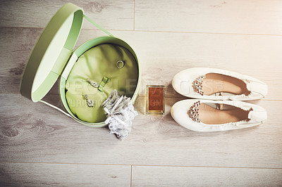 Buy stock photo High angle shot of jewellery, perfume and a pair of shoes for a wedding