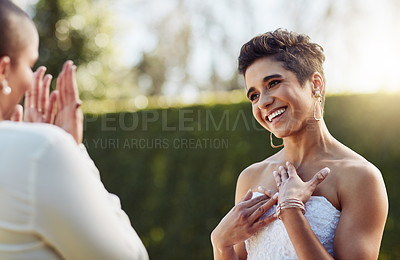 Buy stock photo Cropped shot of an affectionate young lesbian bride smiling while looking at her new wife on their wedding day