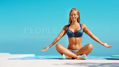 Buy stock photo Full length shot of a beautiful young woman exercising outdoors