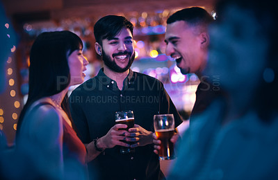 Buy stock photo Cropped shot of friends hanging out at the club