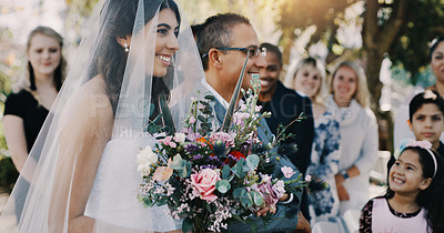 Buy stock photo Cropped shot of a beautiful young bride being walked down the aisle by her father on her wedding day