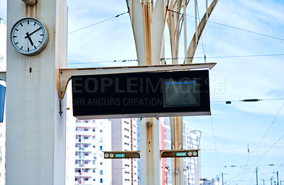 Buy stock photo Cropped shot of a marked sign indicating the platform number in a train station during the day in Portugal