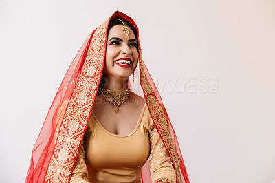 Buy stock photo Studio shot of a beautiful young young woman on her wedding day