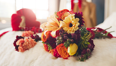 Buy stock photo Shot of flowers on a bed before a wedding ceremony