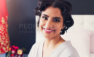Buy stock photo Portrait of a beautiful young woman getting ready for her wedding