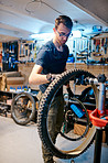 He specializes in repairing and restoring bikes