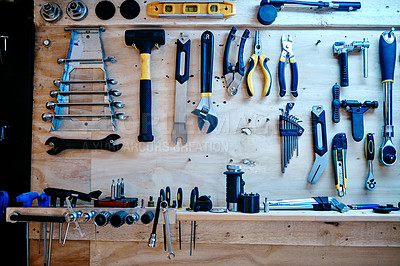 Buy stock photo Still life shot of tools in a workshop