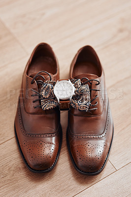 Buy stock photo Cropped shot of men's shoes and accessories