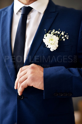 Buy stock photo Shot of an unrecognizable and stylish bridegroom on his wedding day