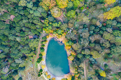 Buy stock photo High angle shot of a lake in the middle of a beautiful forest