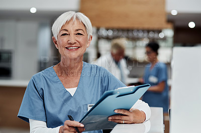 Buy stock photo Portrait of a senior medical practitioner working in a hospital