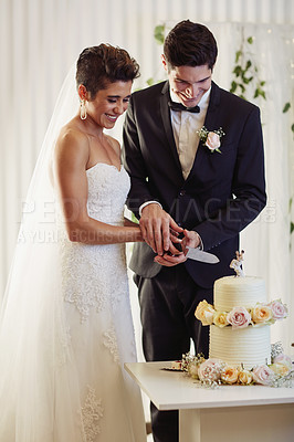 Buy stock photo Shot of a happy young couple cutting the cake at their wedding reception