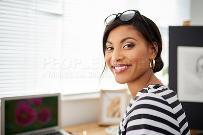 Buy stock photo Portrait of an attractive young artist working inside her studio at home