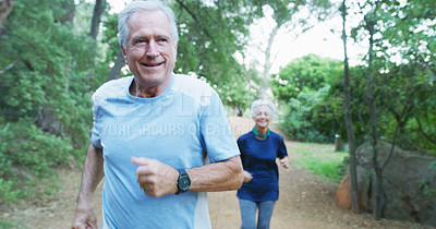 Buy stock photo Cropped shot of a senior man and his wife going out for a run outdoors during the day
