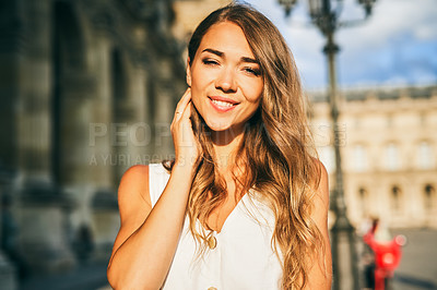 Buy stock photo Portrait of a beautiful young woman exploring the city of Paris