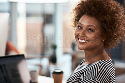 Buy stock photo Portrait of an attractive and confident young businesswoman smiling inside her office