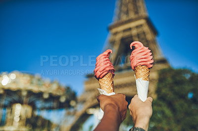 Buy stock photo Cropped shot of two women eating ice cream together at a carnival