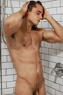 Buy stock photo Cropped shot of a muscular young man washing his hair while taking a shower at home