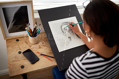 Buy stock photo Rearview of shot of an unrecognizable female artist drawing a portrait of a woman inside her studio