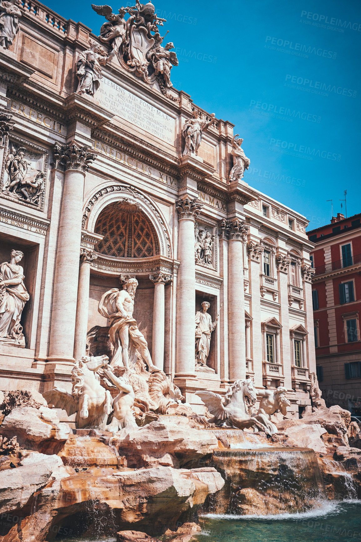 Buy stock photo Cropped shot of the famous Trevi Fountain and its statues during a sunny day in Rome