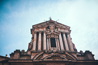 Buy stock photo Cropped shot of Saints Vincent and Anastasius church during a sunny day in Rome